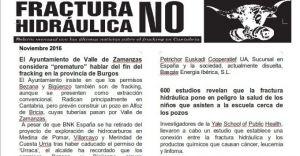 Publicada la hoja informativa de noviembre de 2016. Fracking. Cantabria