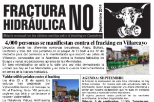 Publicada la hoja informativa de septiembre de 2014. Fracking Cantabria