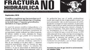 Publicada la hoja informativa de septiembre de 2016. Fracking. Cantabria