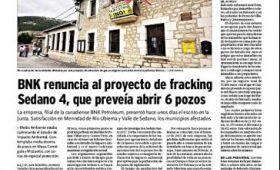 BNK renuncia al proyecto de fracking Sedano 4, que preveía abrir 6 pozos