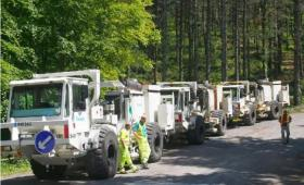 Camiones de sísmica para fracking en cantabria