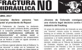 Publicada la hoja informativa de abril de 2017. Fracking. Cantabria