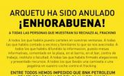 Ante la anulación definitiva de Arquetu: Felicidades a todas y a todos. Fracking No. Cantabria
